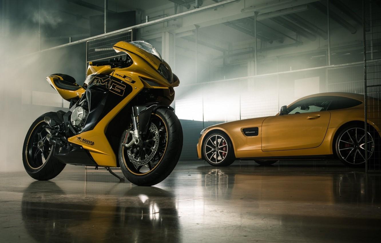 Photo wallpaper Car, Italy, Yellow, Bike, Superbike, Mv Agusta