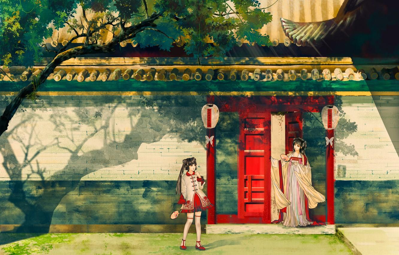 Photo wallpaper summer, house, girls, street