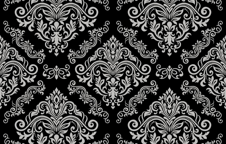 Wallpaper Grey Vector Black Ornament Vintage Grey