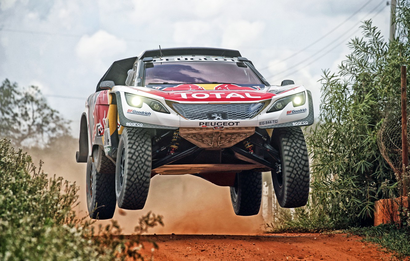 Photo wallpaper Auto, Sport, Machine, Speed, Race, Peugeot, Lights, Red Bull, Rally, Dakar, Dakar, SUV, Rally, Sport, …