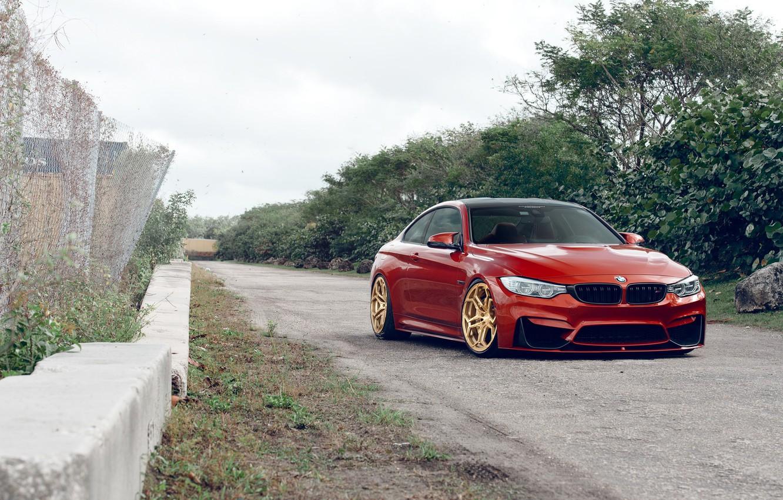 Photo wallpaper BMW, Orange, Front, Stance, Wheels, Velos