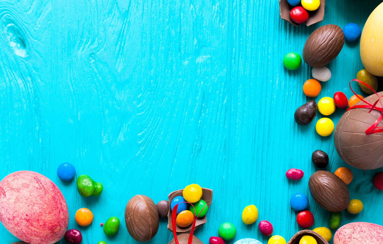 Photo wallpaper background, holiday, chocolate, eggs, candy, Easter, sweets, colorful