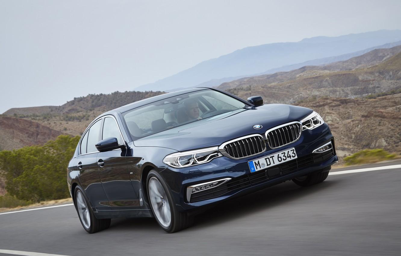 Photo wallpaper road, the sky, asphalt, mountains, movement, vegetation, BMW, sedan, xDrive, 530d, Luxury Line, 5, dark …