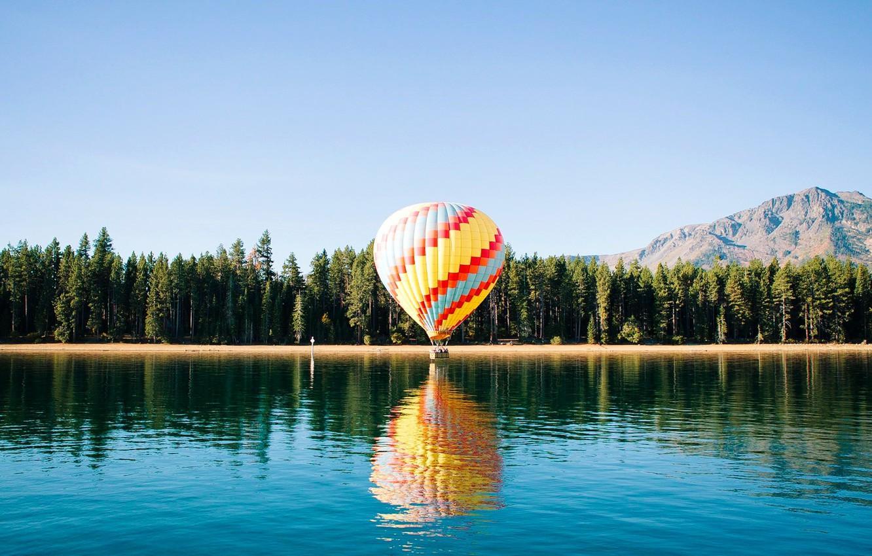 Photo wallpaper forest, river, trees, landscape, nature, nature landscape, lagoon, ballon, landscape beautiful