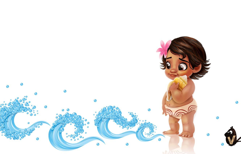 Photo wallpaper shell, art, baby, child, children's, Vipin Jacob, Baby Moana