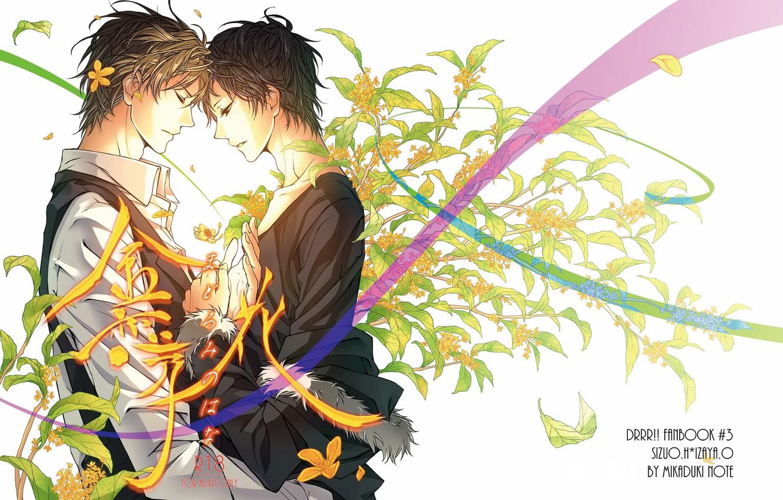 Photo wallpaper leaves, flowers, romance, tape, characters, white background, guys, Heiwajima Shizuo, Durarara!!, Orihara Izaya