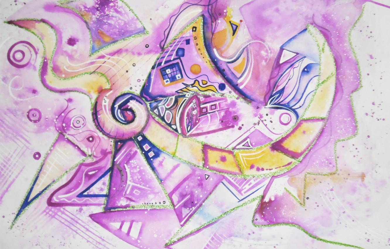 Photo wallpaper purple, blue, yellow, magic, Figure, Lena Horn