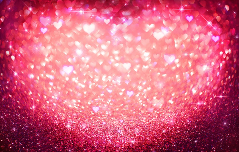 Photo wallpaper sequins, hearts, love, pink, hearts, bokeh, glitter