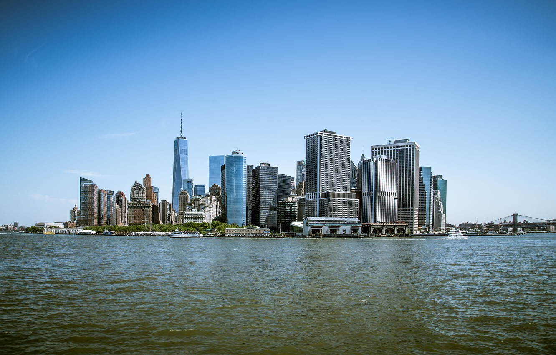 Photo wallpaper Sea, New York, Manhattan, Building, City, USA, USA, New York, Manhattan, Sea, Buildings
