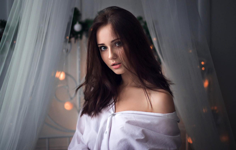Photo wallpaper look, portrait, makeup, hairstyle, brown hair, beauty, in white, Ivan Shcheglov