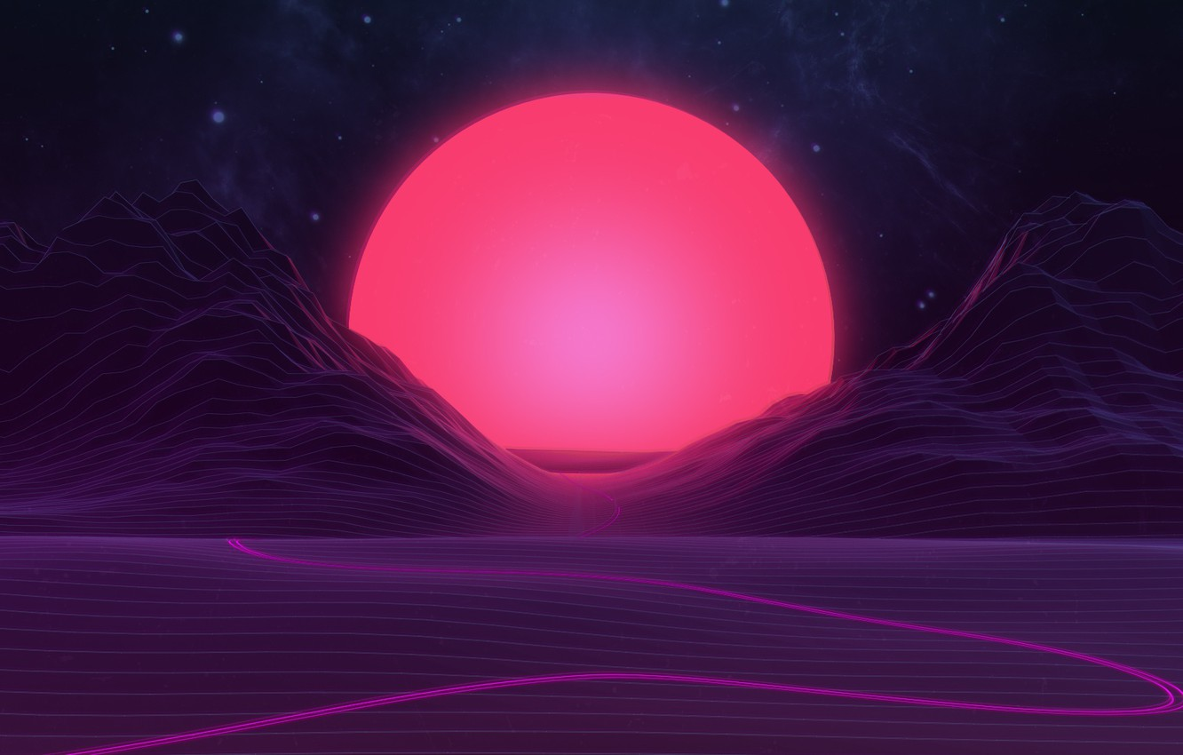 Photo wallpaper The sun, Mountains, Music, Stars, Neon, Space, Light, Graphics, Synthpop, Synth, Synth-pop, Sinti