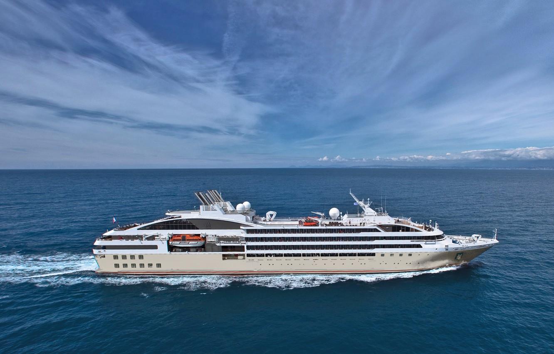 Photo wallpaper Sea, White, Board, The ship, Passenger, ON the go
