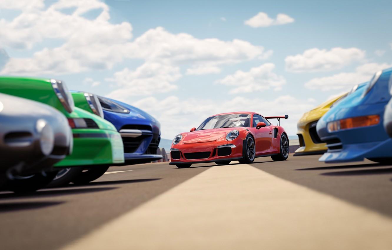 Photo wallpaper car, Porsche, game, sky, cloud, race, speed, Forza Horizon, kumo, Forza Horizon 3