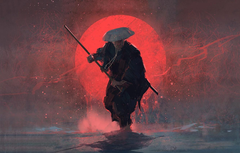 Photo wallpaper sword, weapon, hat, art, sun, man, painting, stick, digital art, Samurai, warrior, red sun, artwortk