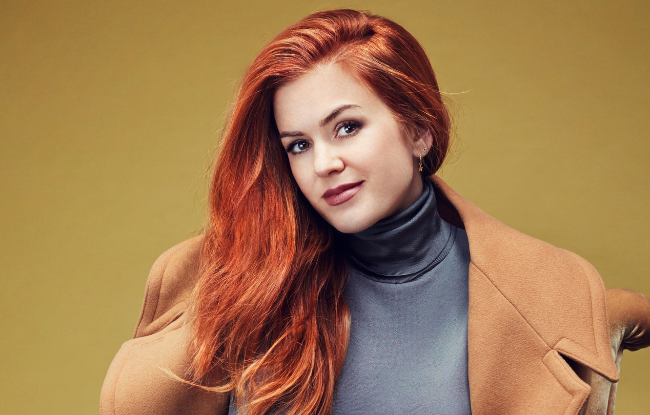 Photo wallpaper background, makeup, hairstyle, red, beautiful, coat, Isla Fisher, Isla Fisher, Glamour, Rachell Smith, actress.portrait