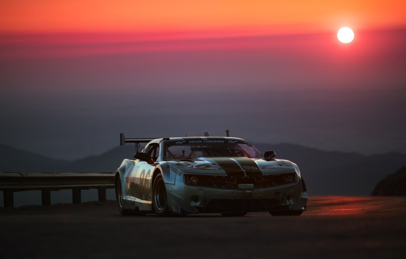 Photo wallpaper the sun, sunset, tuning, the evening, Chevrolet, Camaro