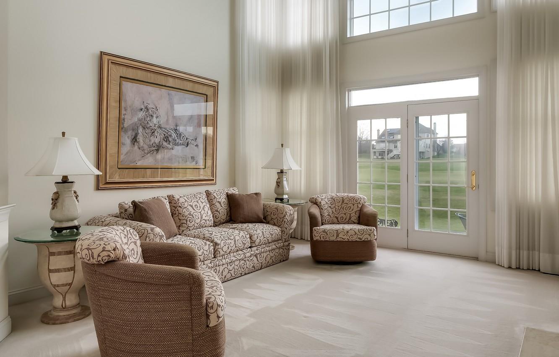 Photo wallpaper sofa, window, curtains, living room