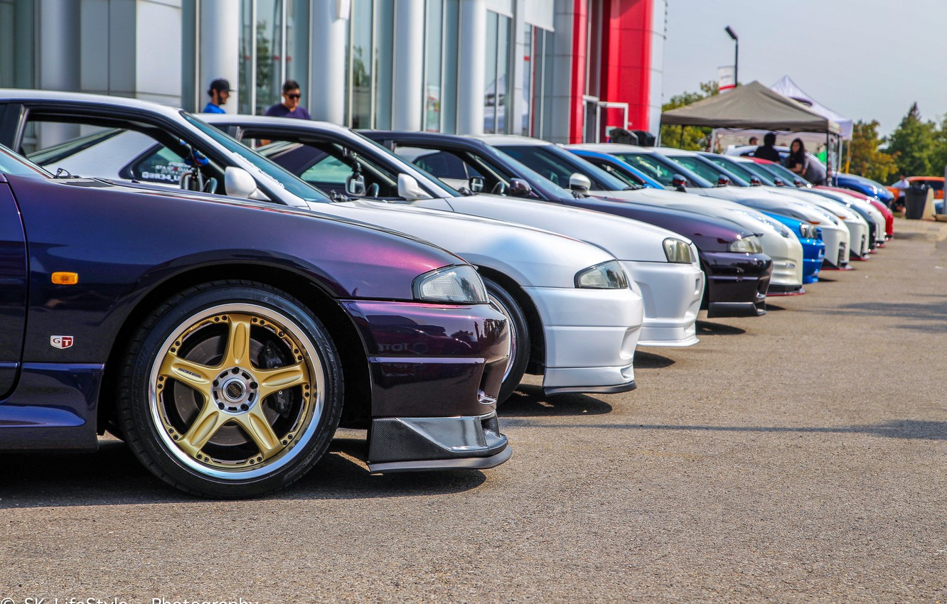 Photo wallpaper nissan, turbo, wheels, skyline, tuning, r34, r33, r35, nismo, vspec, carshow, meet