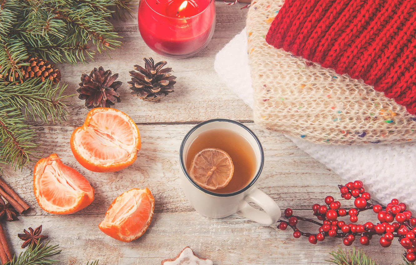 Photo wallpaper tea, new year, candle, drink, bumps, slices, Mandarin