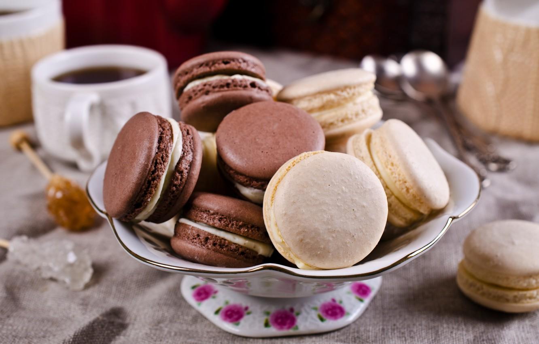 Photo wallpaper coffee, cookies, Cup, cream, dessert, sweet, coffee cup, cookies, macaron, almond, macaroon