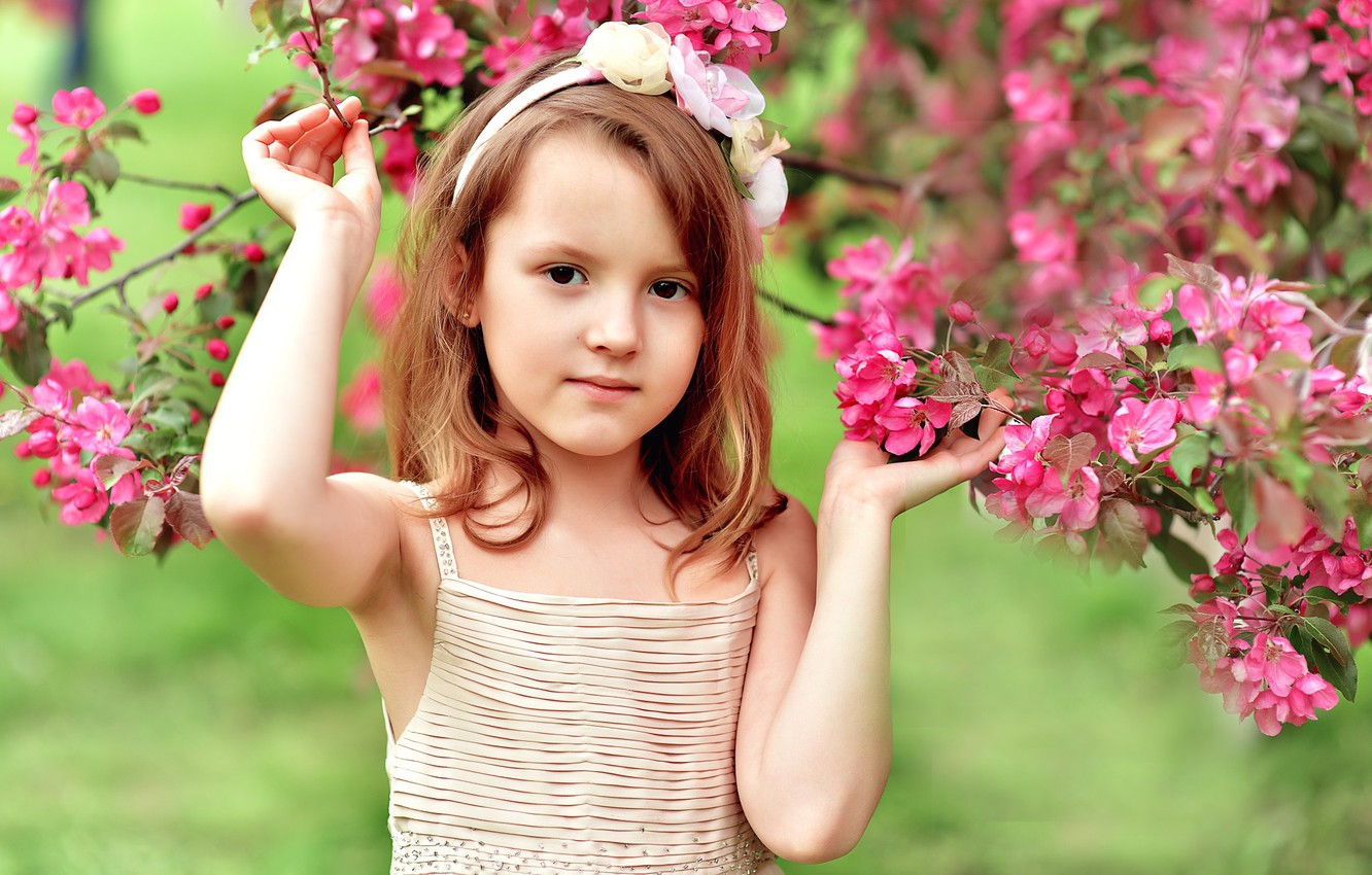 Photo wallpaper flowers, tree, spring, girl