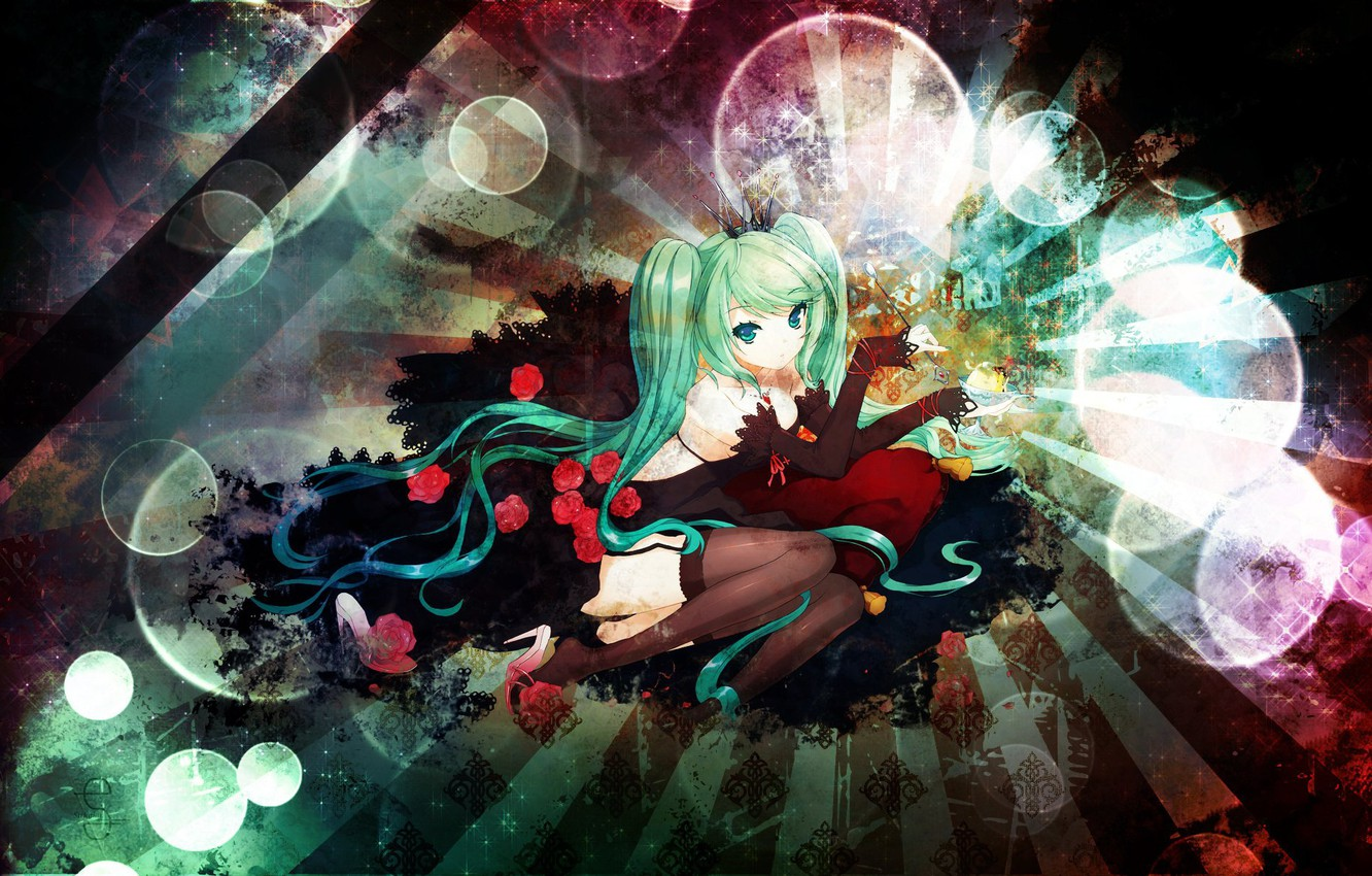 Photo wallpaper lights, stockings, costume, gloves, vocaloid, hatsune miku, Vocaloid, blue hair, red roses