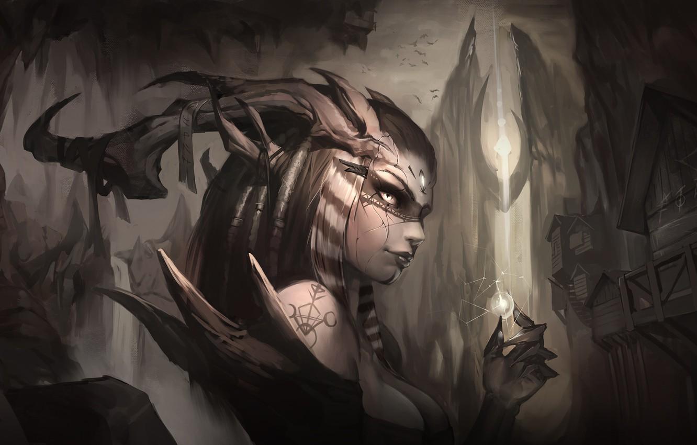 Photo wallpaper look, magic, fantasy, art, horns, demoness