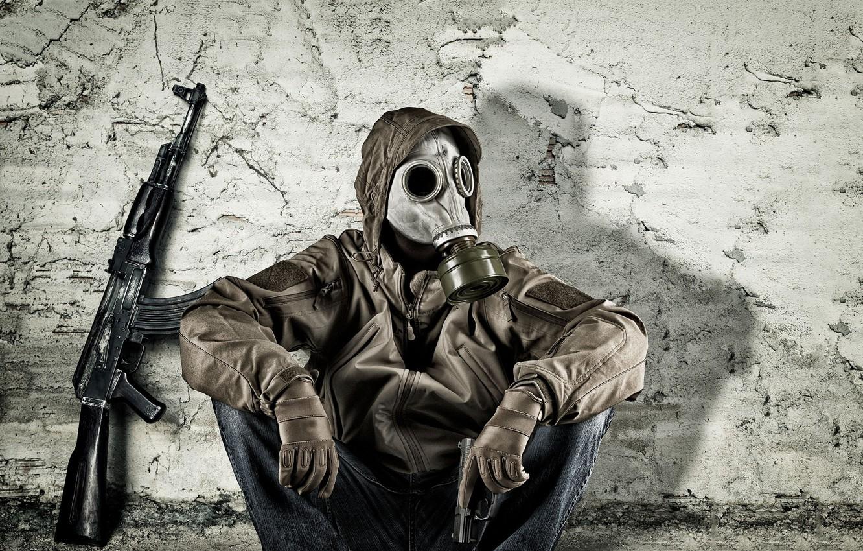 Photo wallpaper gun, wall, clothing, gas mask, male, sitting, Kalash