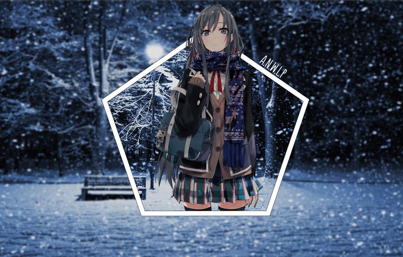 Photo wallpaper winter, girl, light, snow, night, Park, anime, shop, snowfall, Chan, madskillz