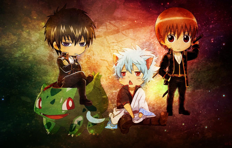 Photo wallpaper neko, anime, pokemon, bulbasaur, gintama, gintoki, hijikata toshiro, okita sougo, gintoki and hijikata, kawai, anime …