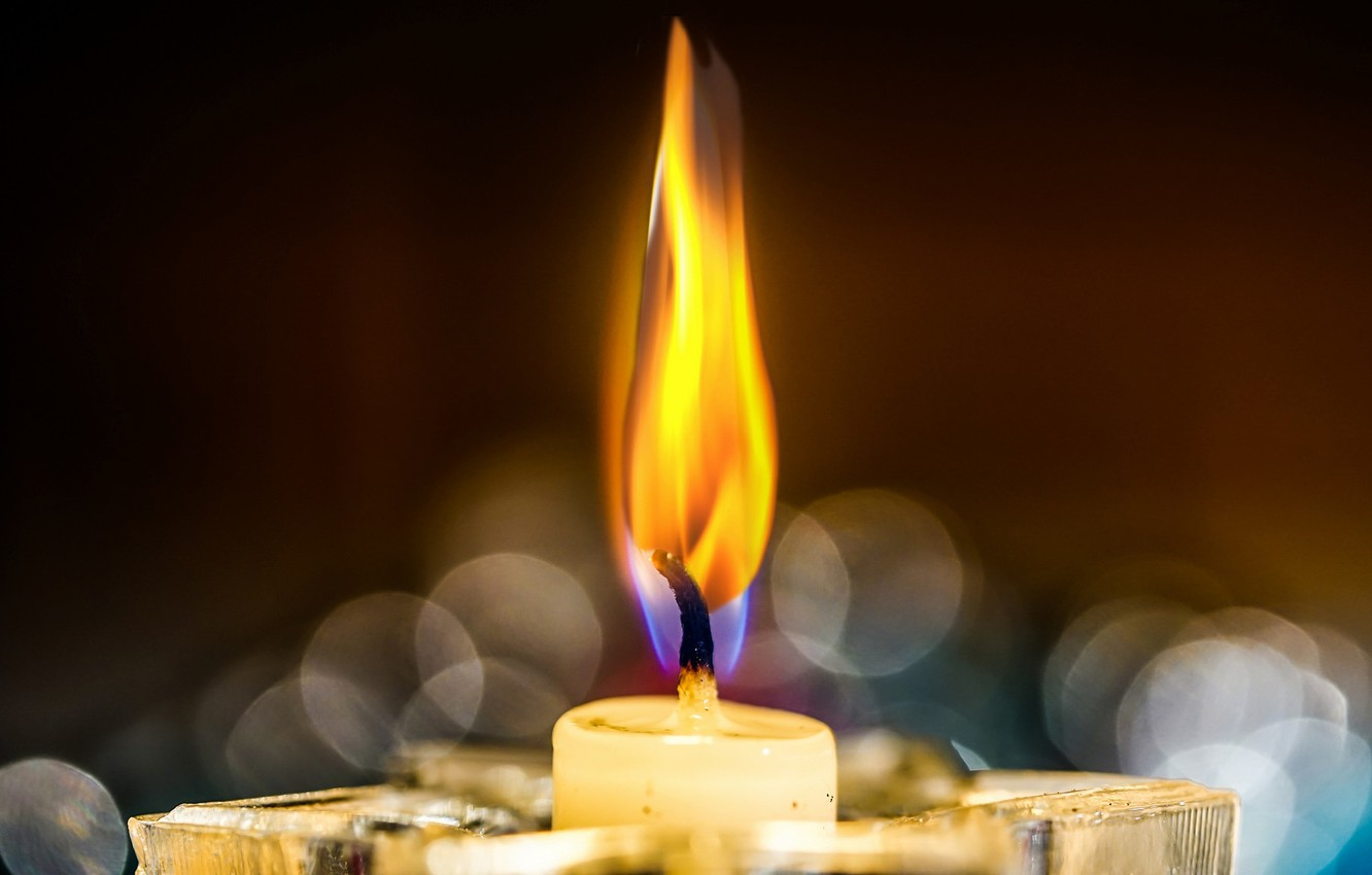 Photo wallpaper fire, flame, candle