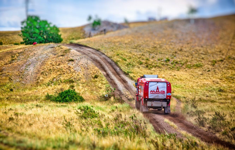 Photo wallpaper Red, Sport, Truck, Race, Hill, Rally, Rally, The roads, 316, MAZ, Silk road, Silk Way, …