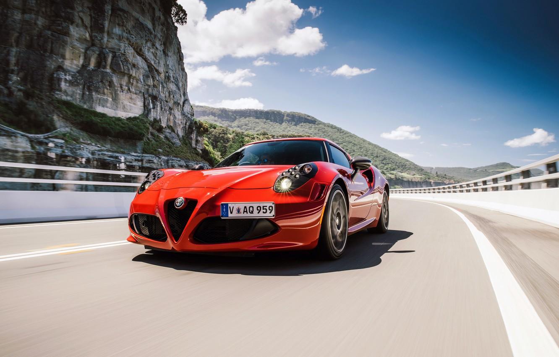 Photo wallpaper car, Alfa Romeo, red, road, mountains, speed, Alfa Romeo 8C, Alfa 8C