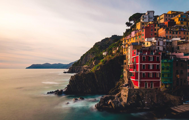 Photo wallpaper sea, Italy, dusk, Riomaggiore, Liguria, cliff