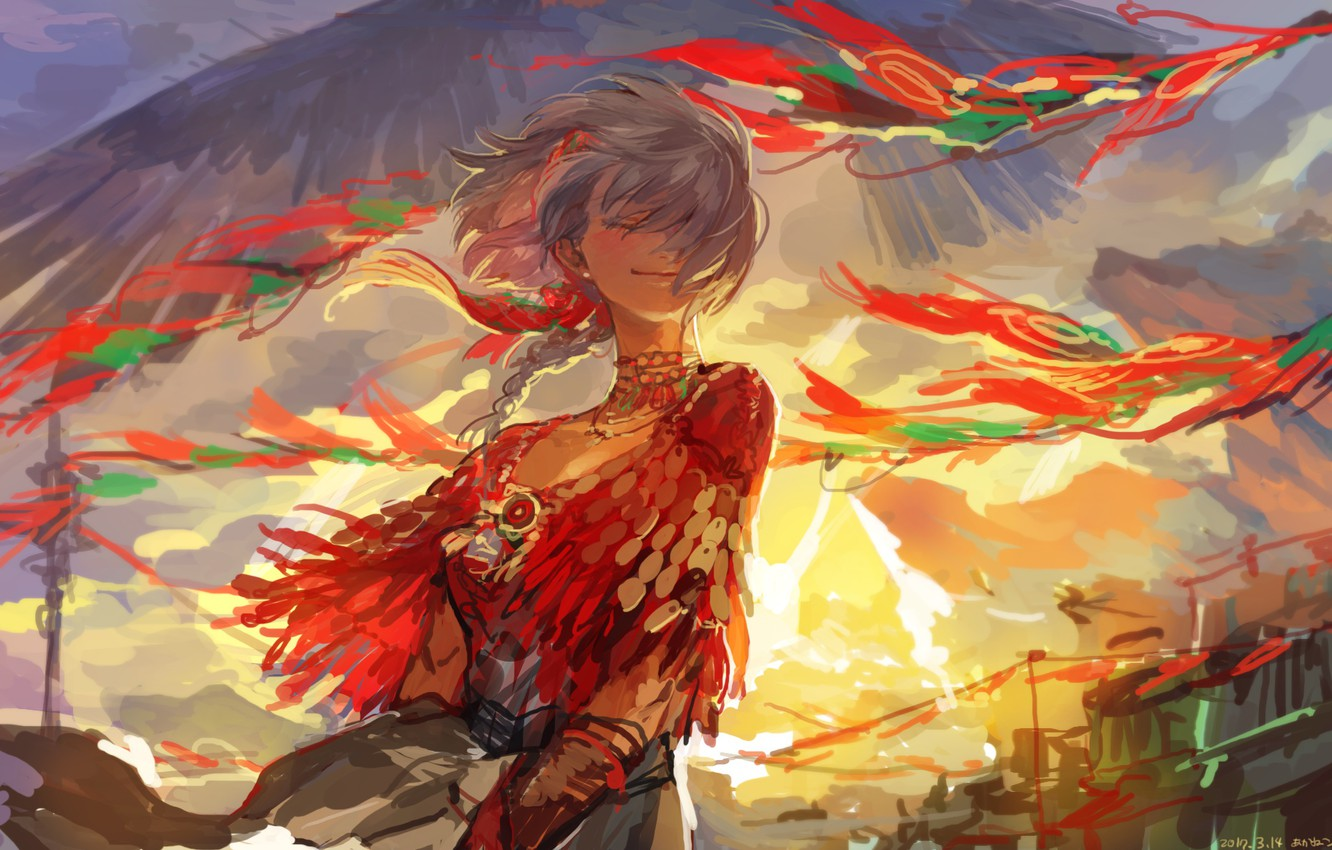 Photo wallpaper the sky, the wind, wings, girl, Cape, pigtail, closed eyes