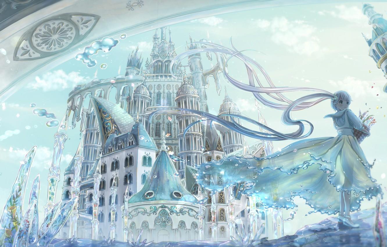 Photo wallpaper girl, the city, anime, art