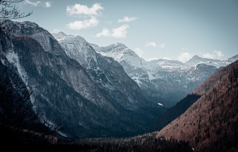 Photo wallpaper snow, landscape, mountains