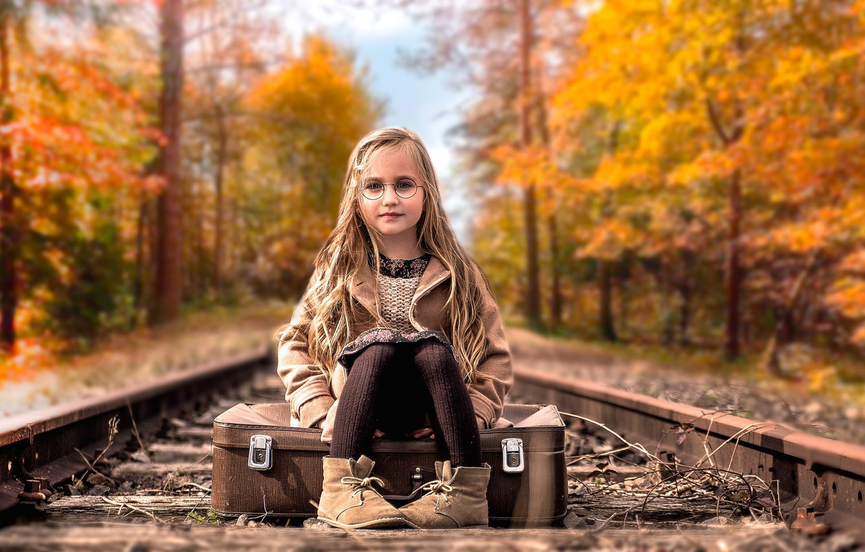 Photo wallpaper girl, railroad, suitcase
