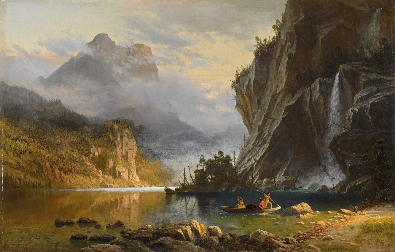 Photo wallpaper landscape, nature, art, Albert Bierstadt, Albert Bierstadt, Indians Spear Fishing