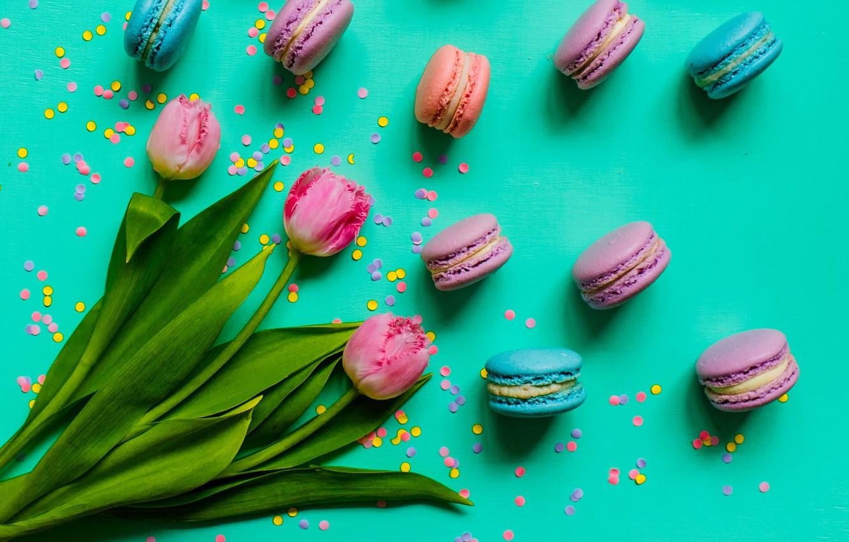 Photo wallpaper tulips, pink, pink, tulips, sweet, dessert, macaroon, macaron, macaroon