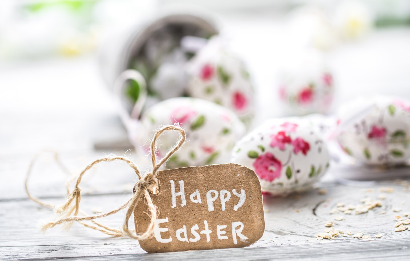 Photo wallpaper flowers, Easter, happy, flowers, spring, Easter, eggs, decoration, pastel, the painted eggs
