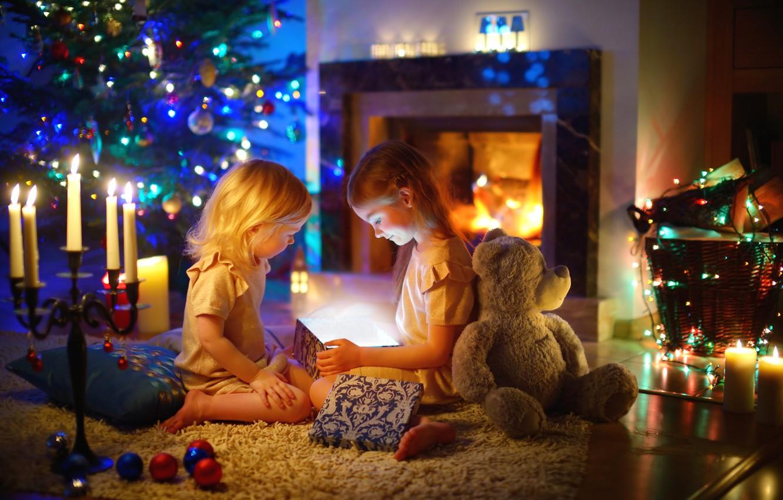 Photo wallpaper children, comfort, holiday, gift, magic, surprise