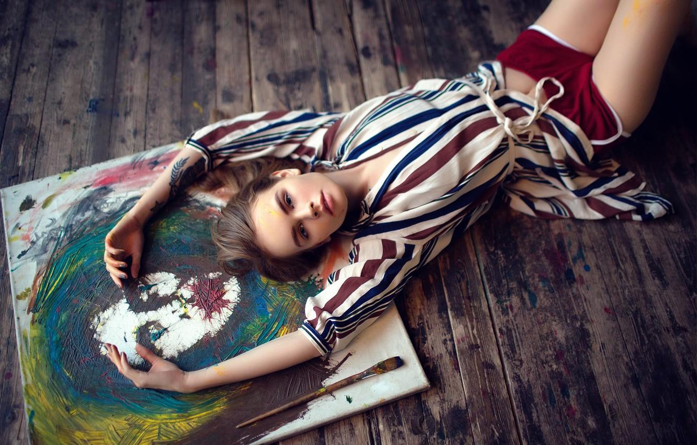 Photo wallpaper paint, legs, creativity, brush, Anastasia Shcheglova