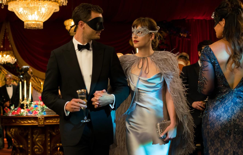 Photo wallpaper cinema, man, movie, book, film, mask, Dakota Johnson, Jamie Dornan, Fifty Shades of Grey, Christian …