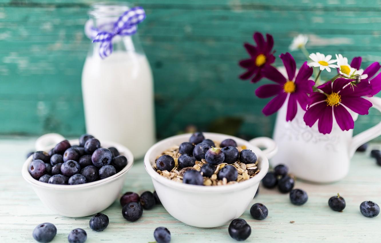 Photo wallpaper berries, Breakfast, milk, blueberries, bowl, muesli