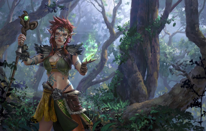 Photo wallpaper forest, girl, vegetation, staff, guardian