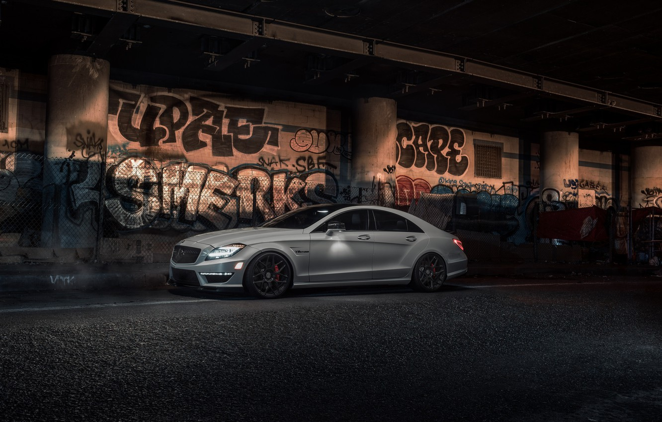 Photo wallpaper Light, Mercedes, AMG, White, CLS63, W218, Graphity
