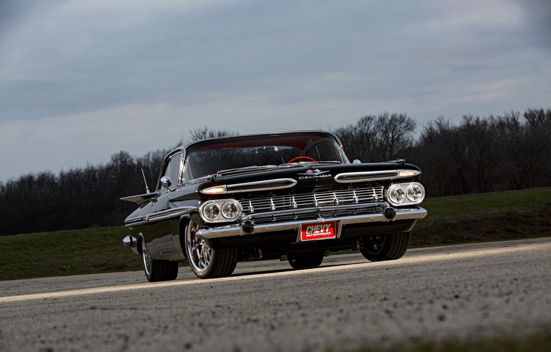 Photo wallpaper Black, 1959, Chevrolet Impala, Classic rod