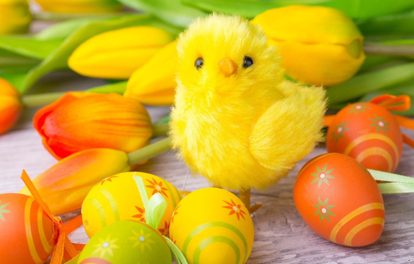 Photo wallpaper Easter, tulips, yellow, wood, tulips, spring, Easter, eggs, decoration, Happy, the painted eggs