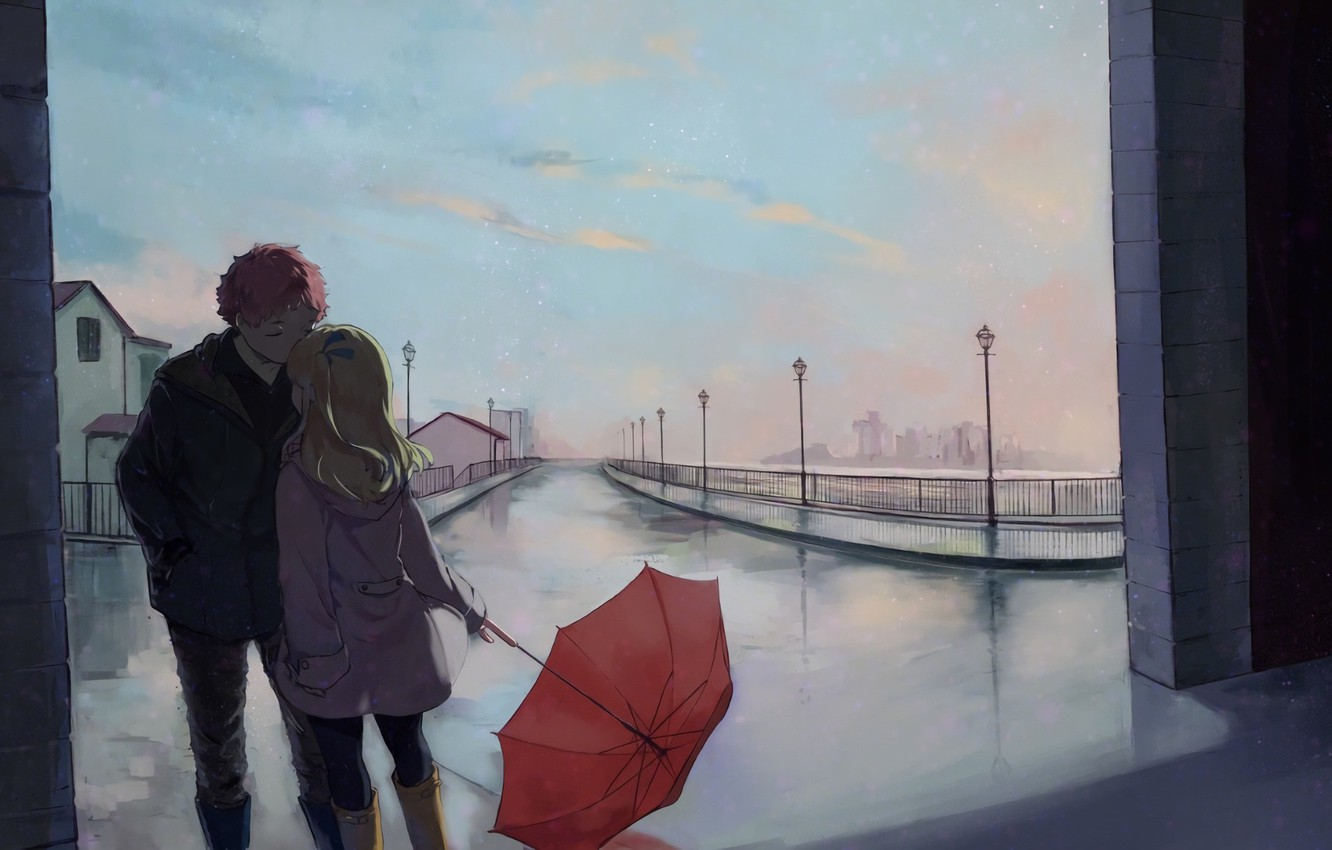 Photo wallpaper street, romance, umbrella, art, pair, a couple